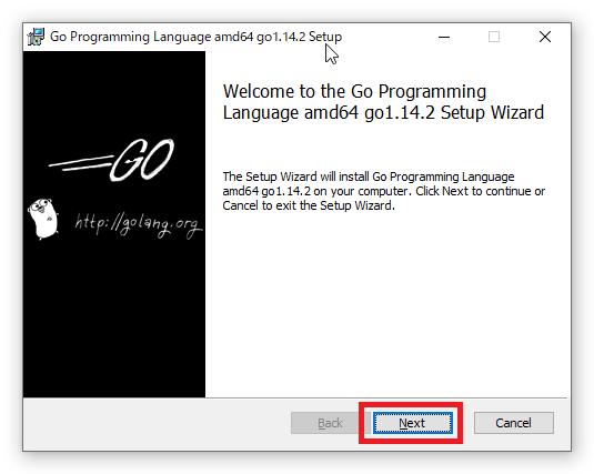 Go言語 インストール画面